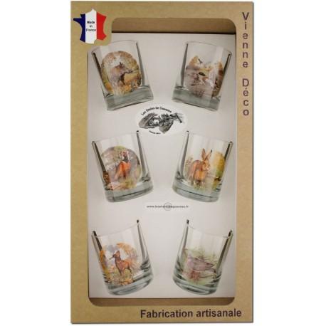 Coffret 6 verres à Whisky Sérigraphiés (Nouveaux Gibiers)
