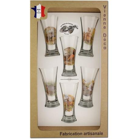 Coffret 6 verres à Pastis Sérigraphiés (Nouveaux Gibiers)