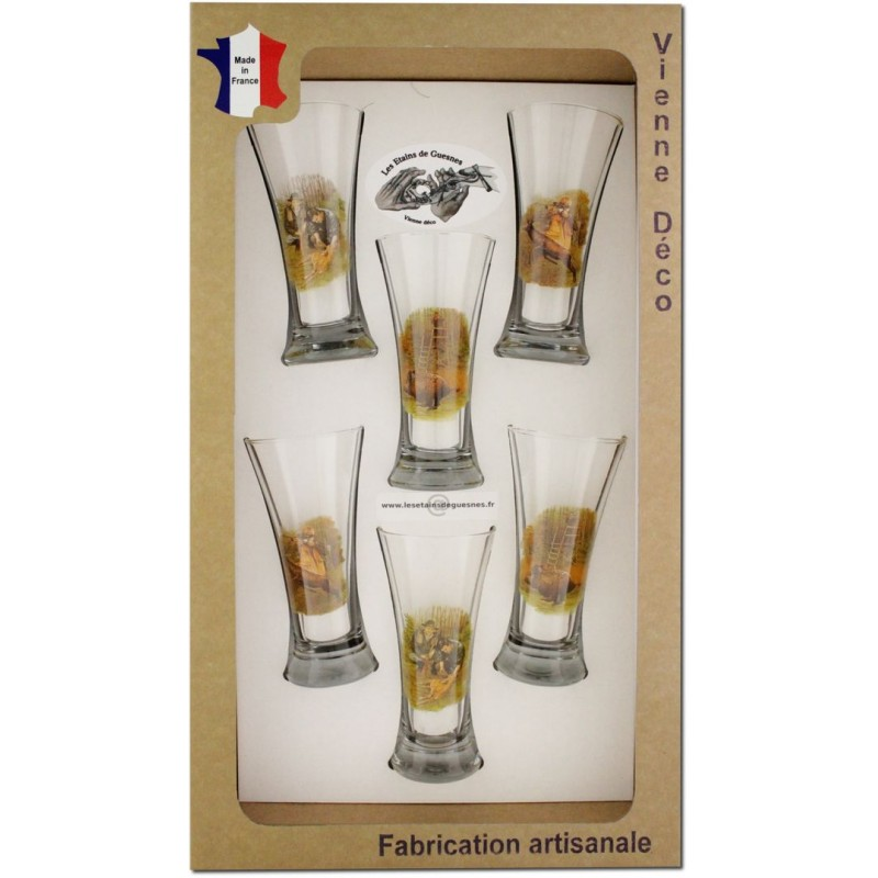 coffret 6 verres pastis s rigraphi s chasseurs poils les etains de guesnes. Black Bedroom Furniture Sets. Home Design Ideas