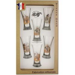 Coffret 6 verres à Pastis Sérigraphiés (Chasseurs Plumes)