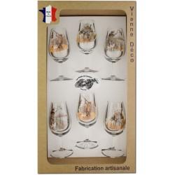 Coffret 6 verres à Vin INAO Sérigraphiés (Chasseurs Plumes)