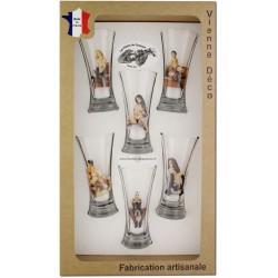 Coffret 6 verres à Pastis Sérigraphiés (Nus Coquins)