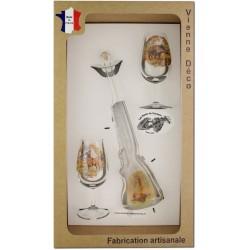 Coffret 2 verres à Vin INAO + Bouteille Fusil Sérigraphiés (Gibiers Poils)