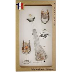 Coffret 2 verres à Vin INAO + Bouteille Fusil Sérigraphiés (Gibiers Plumes)
