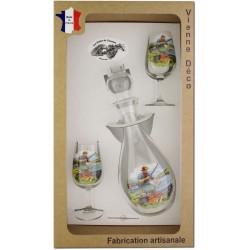 Coffret 2 verres à Vin INAO + Carafe Sérigraphiés (Pêche à la Carpe)