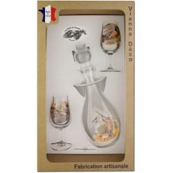 Coffret 2 verres à Vin INAO + Carafe Sérigraphiés (Chasseurs Plumes)