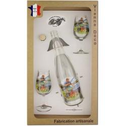 Coffret 2 verres à Vin INAO + Bouteille Vin Blanc/Rosé Sérigraphiés + Bouchon (Pêche à la Carpe)