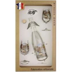 Coffret 2 verres à Vin INAO + Bouteille Vin Blanc/Rosé Sérigraphiés + Bouchon (Pêche à la Truite)