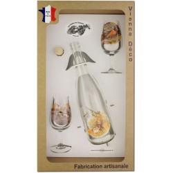 Coffret 2 verres à Vin INAO + Bouteille Vin Blanc/Rosé Sérigraphiés + Bouchon (Chasseurs Plumes)