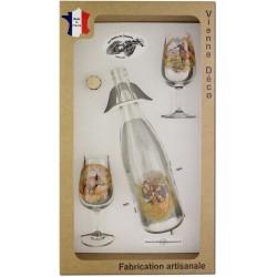 Coffret 2 verres à Vin INAO + Bouteille Vin Blanc/Rosé Sérigraphiés + Bouchon (Chasseurs Poils)