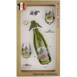 Coffret 2 verres à Vin INAO + Bouteille Vin Rouge Sérigraphiés + Bouchon (Pêche à la Carpe)