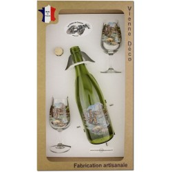Coffret 2 verres à Vin INAO + Bouteille Vin Rouge Sérigraphiés + Bouchon (Pêche à la Truite)