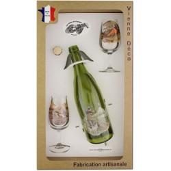 Coffret 2 verres à Vin INAO + Bouteille Vin Rouge Sérigraphiés + Bouchon (Chasseurs Plumes)