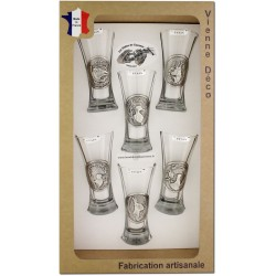 Coffret 6 verres à Pastis Décor Etain (Gibiers)