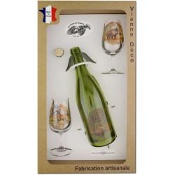 Coffret 2 verres à Vin INAO + Bouteille Vin Rouge Sérigraphiés + Bouchon (Chasseurs Poils)