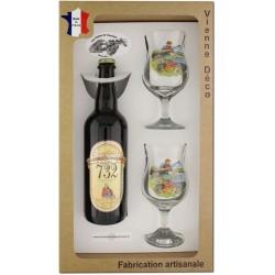 Coffret 2 verres à pied + Bière Blonde de Bellefois (Pêche à la Carpe)