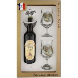 Coffret 2 verres à pied + Bière Blonde de Bellefois (Pêche à la Truite)