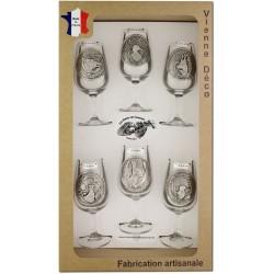 Coffret 6 verres à Vin INAO Décor Etain (Gibiers)