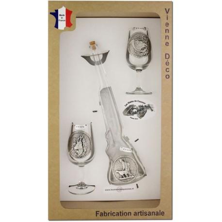 Coffret 2 verres à Vin INAO + Bouteille Fusil Décor Etain (Gibiers Poils)