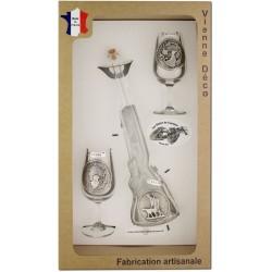 Coffret 2 verres à Vin INAO + Bouteille Fusil Décor Etain (Gibiers Plumes)